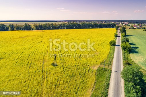 1155573645istockphoto Aerial view of countryside,  straight country road and arable fields 1028723626