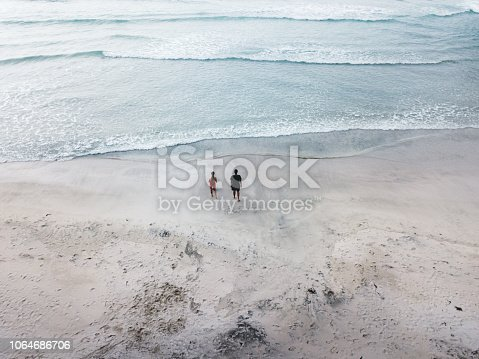 Drone photo of woman in swimsuit, man and pug going to the northern ocean at picturesque beach in Northern Norway