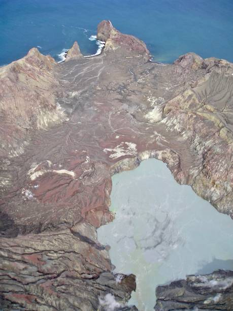 aerial view of crater lake - white island - mcdermp stock pictures, royalty-free photos & images