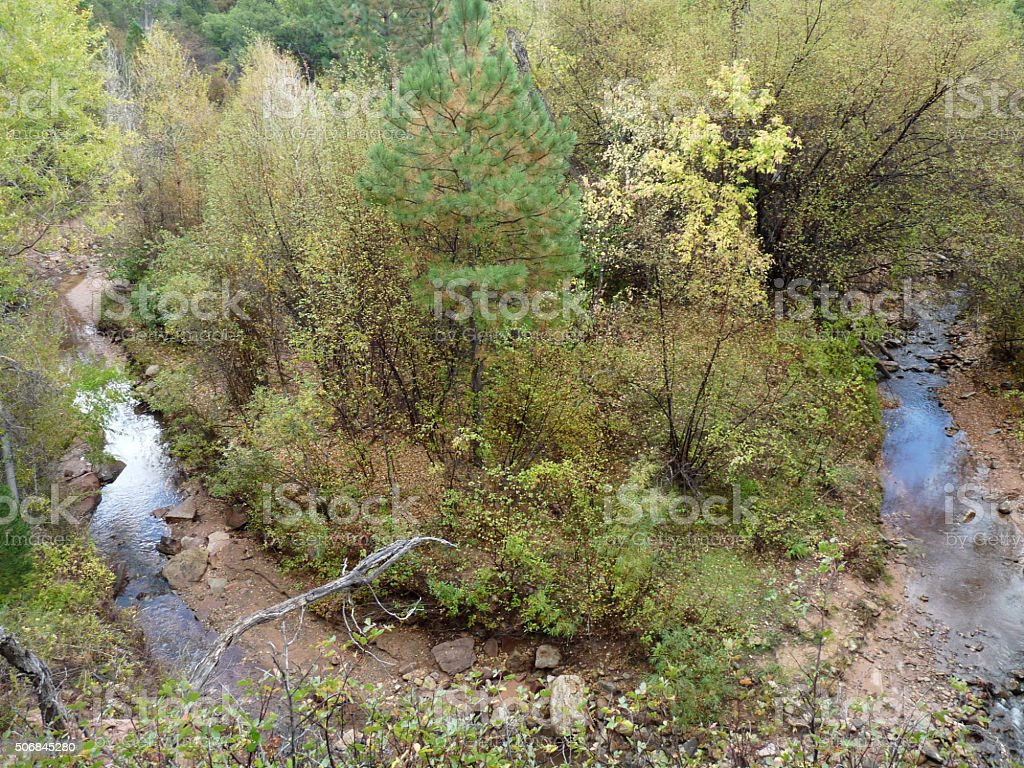 Aerial View of Creek Bend in Autumn stock photo
