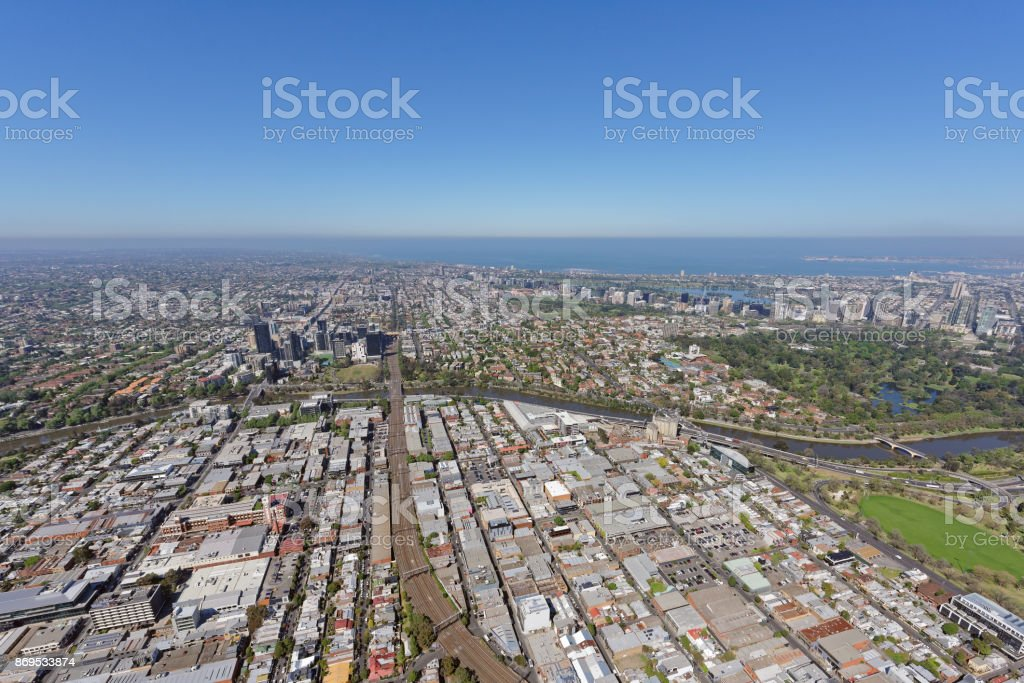 Aerial view of Cremorne, looking south-west stock photo