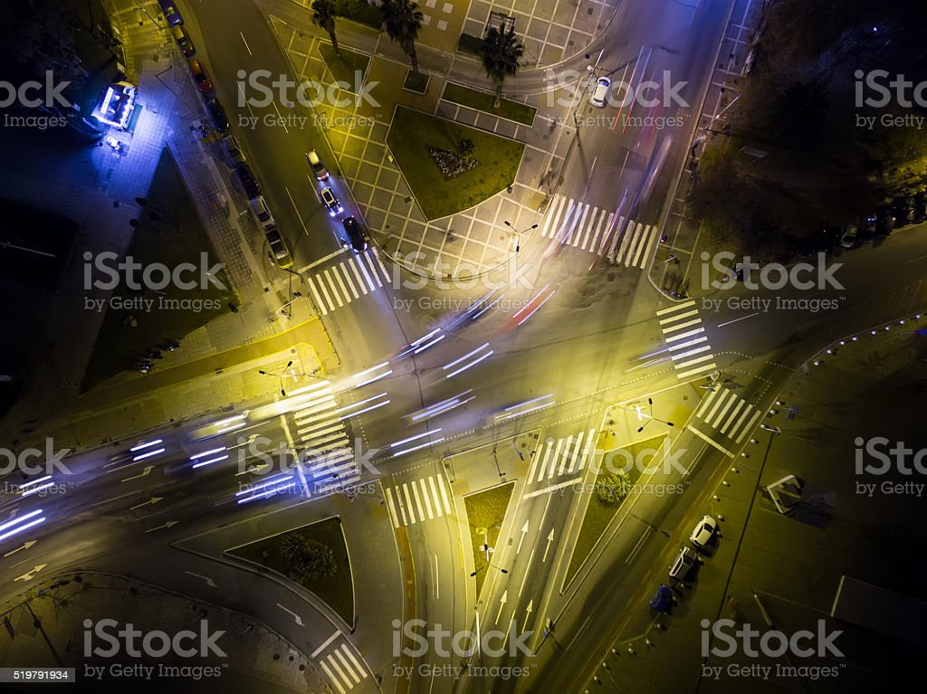 Aerial view of cross road in Thessaloniki at night, Greece. stock photo