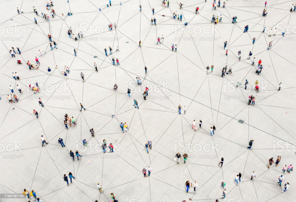 Aerial view of crowd connected by lines - Стоковые фото Абстрактный роялти-фри