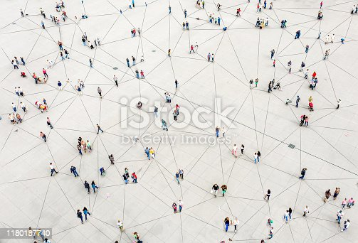istock Aerial view of crowd connected by lines 1180187740