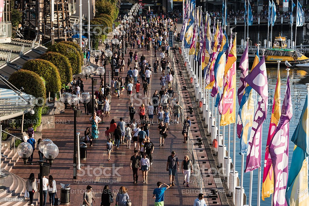 Aerial view of crowd of people in Darling Harbour stock photo