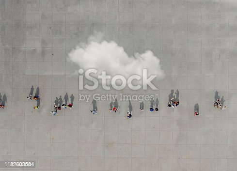 Aerial view of crowd with clowd. Image composition