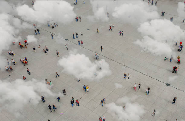 Aerial view of crowd with clowds stock photo