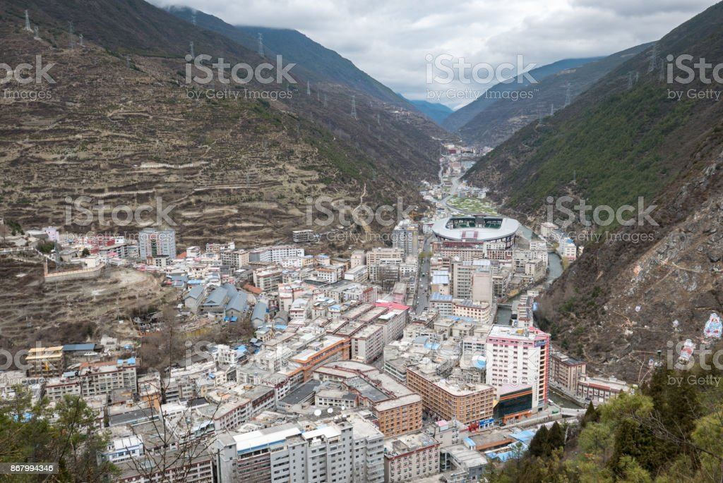 Aerial View of Crowded Kangding, Tibetan Autonomous Region, Sichuan, China stock photo