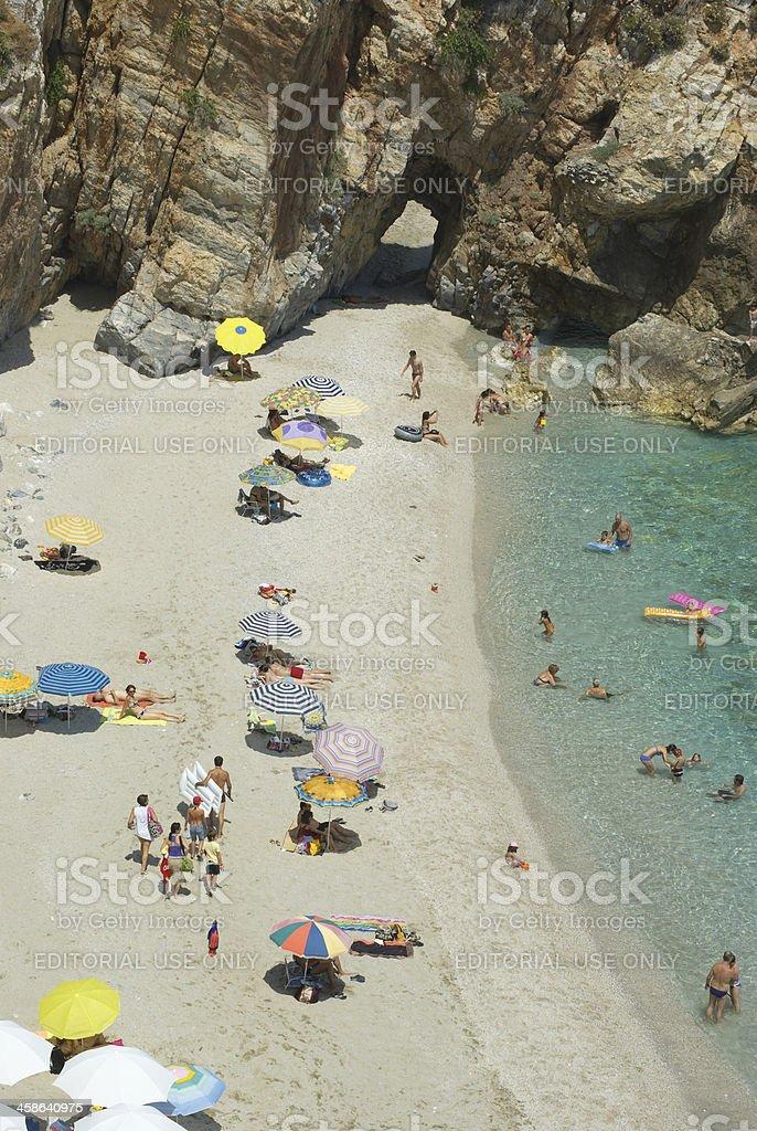 Aerial View Of Crowded Mylopotamos Beach, Greece royalty-free stock photo