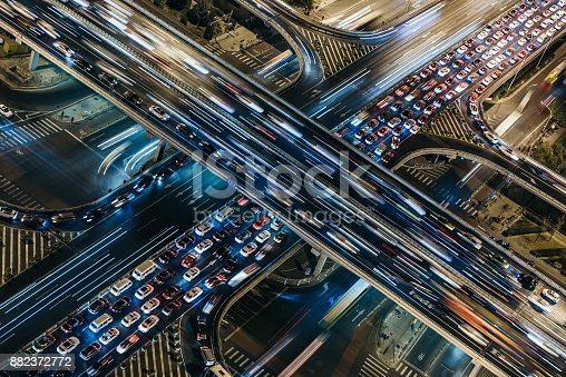 istock Aerial View of Crowded Traffic at Night 882372772
