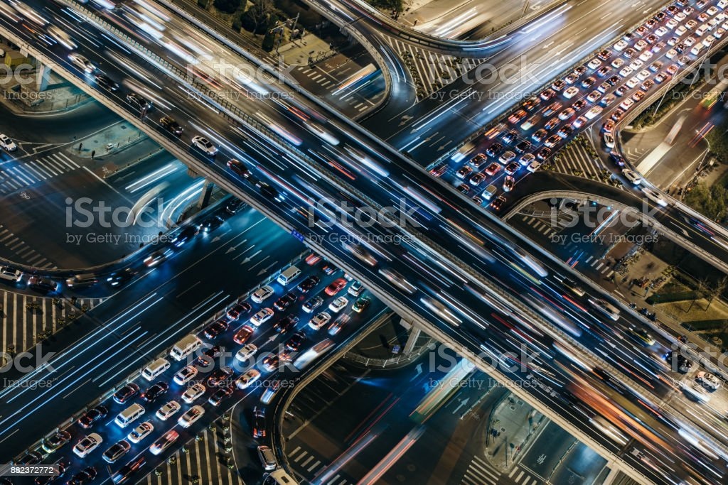 Aerial View of Crowded Traffic at Night stock photo