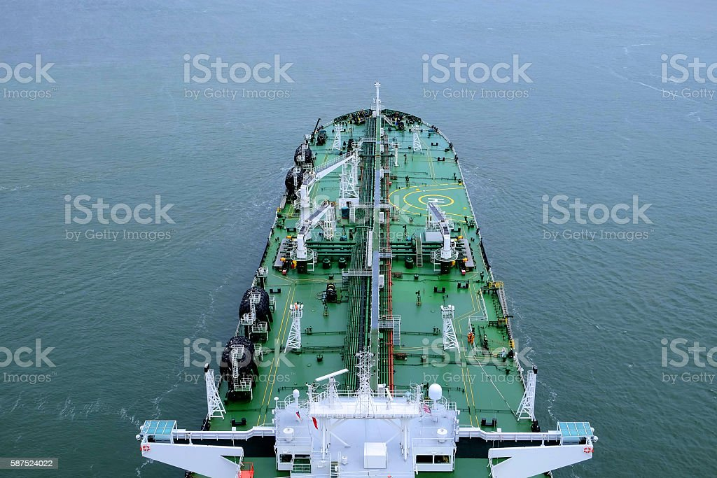 Aerial view of crude oil tanker ship in calm seas stock photo