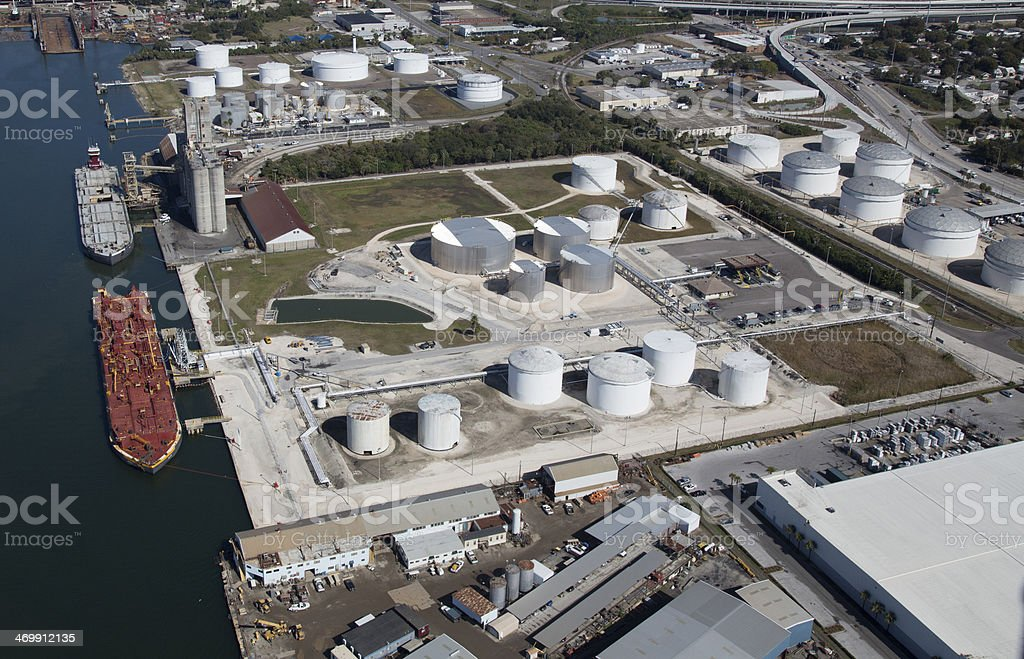 Aerial View of Crude Oil Tanker unloading Crude Oil to storage tanks