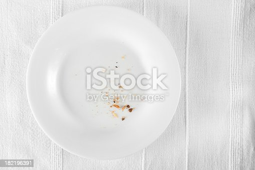 only crumbs left on white plate, more food related images: