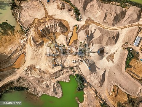 Top view of crushed stone quarry machine.