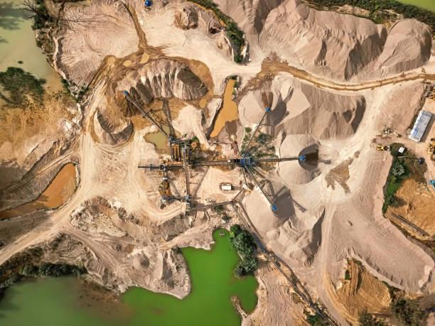 Luftaufnahme von Bruchstein Steinbruch Maschine – Foto
