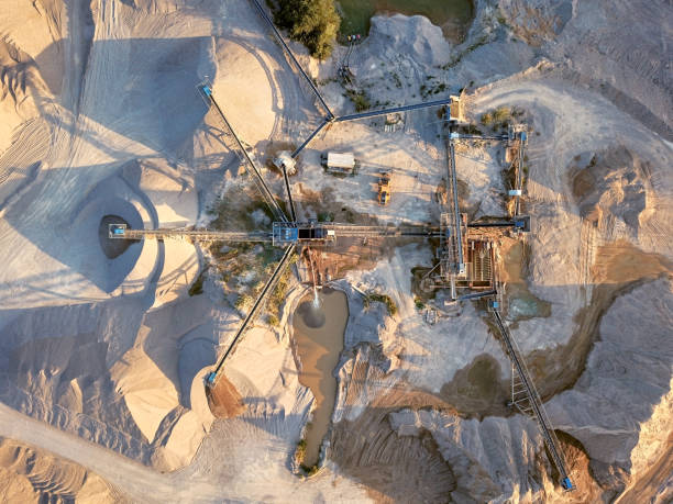 Aerial view of crushed stone quarry machine stock photo