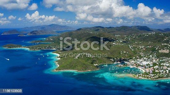 Aerial view of Cruz Bay, St John, Virgin Islands