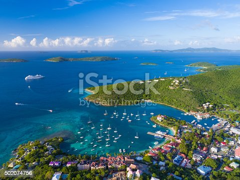 aerial view of Cruz Bay, St.John, US Virgin Islands