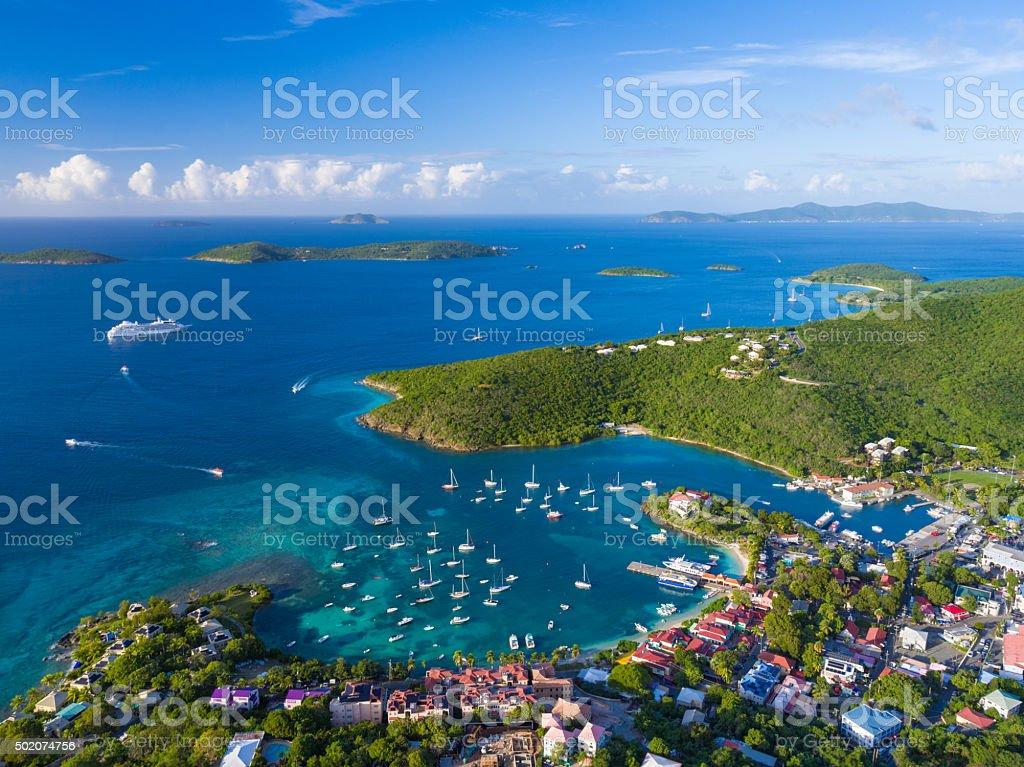 aerial view of Cruz Bay, St.John in US Virgin Islands stock photo