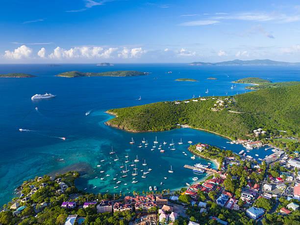 aerial view of Cruz Bay, St.John in US Virgin Islands