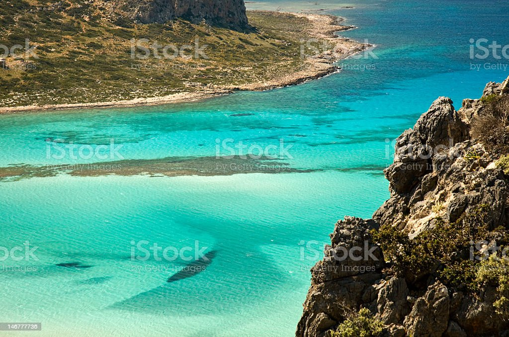 Aerial view of crystal clear water and hills in Balos, Crete stock photo