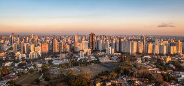 aerial view of curitiba city at sunset - curitiba, parana, brazil - curitiba stock photos and pictures