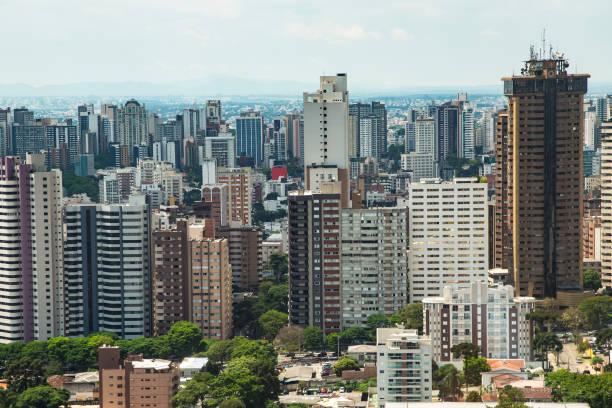 aerial view of curitiba, parana state, brazil - curitiba stock photos and pictures
