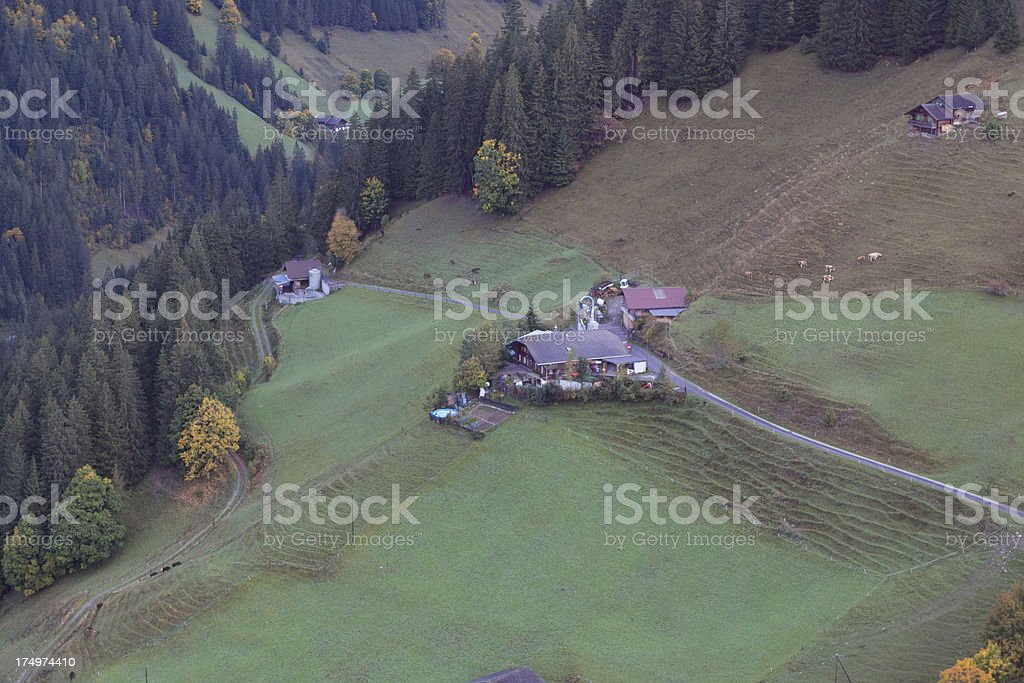 Aerial view of dairy farm, Bernese Oberland, Autumn royalty-free stock photo