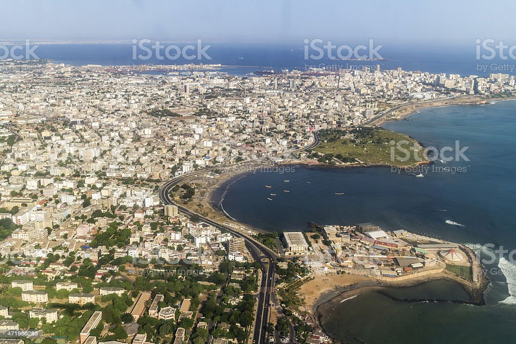 Aerial view of Dakar land and water stock photo
