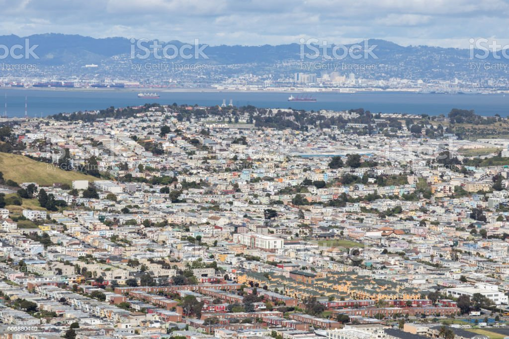 Aerial View of Daly City and Brisbane from San Bruno Mountain State Park. stock photo