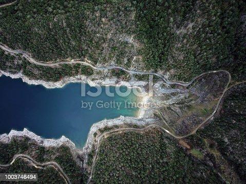 Aerial view of Sahinkaya Canyon in Altinkaya Dam reservoir in Samsun Province in Turkey