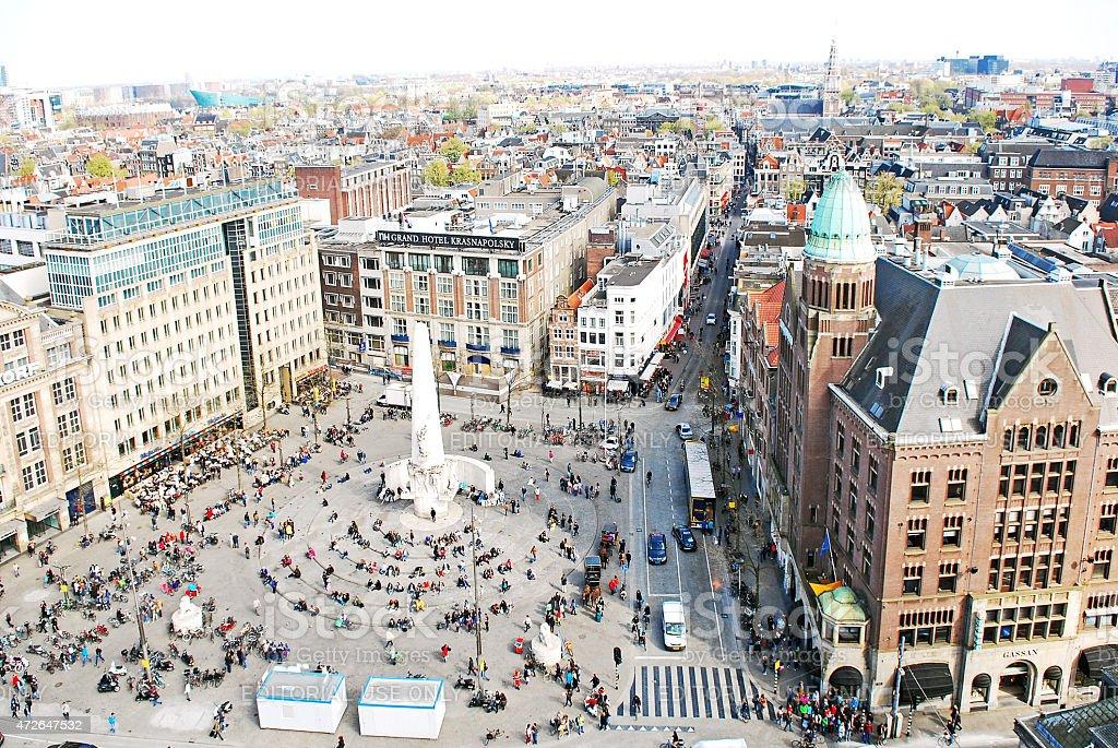Fotograf a de vista a rea de la plaza dam de msterdam y for Ostello amsterdam piazza dam