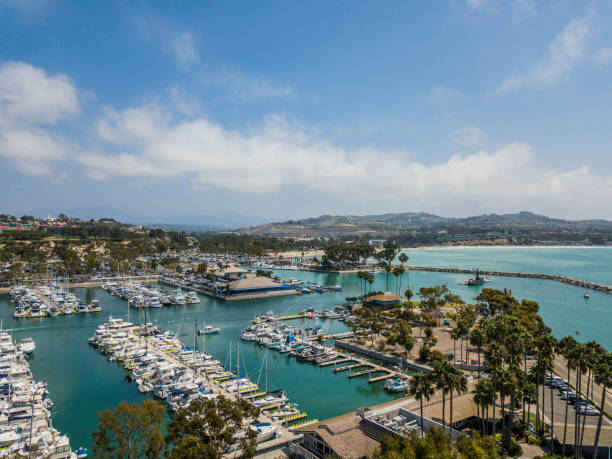 Aerial view of Dana Point Marina and Coastline stock photo