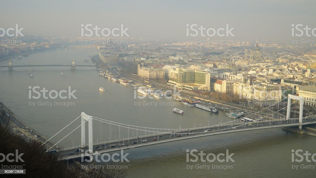 Aerial view of Danube river and Budapest in Hungary stock photo