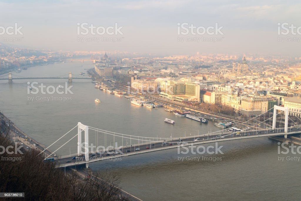 Aerial view of Danube river and city in Budapest, Hungary stock photo