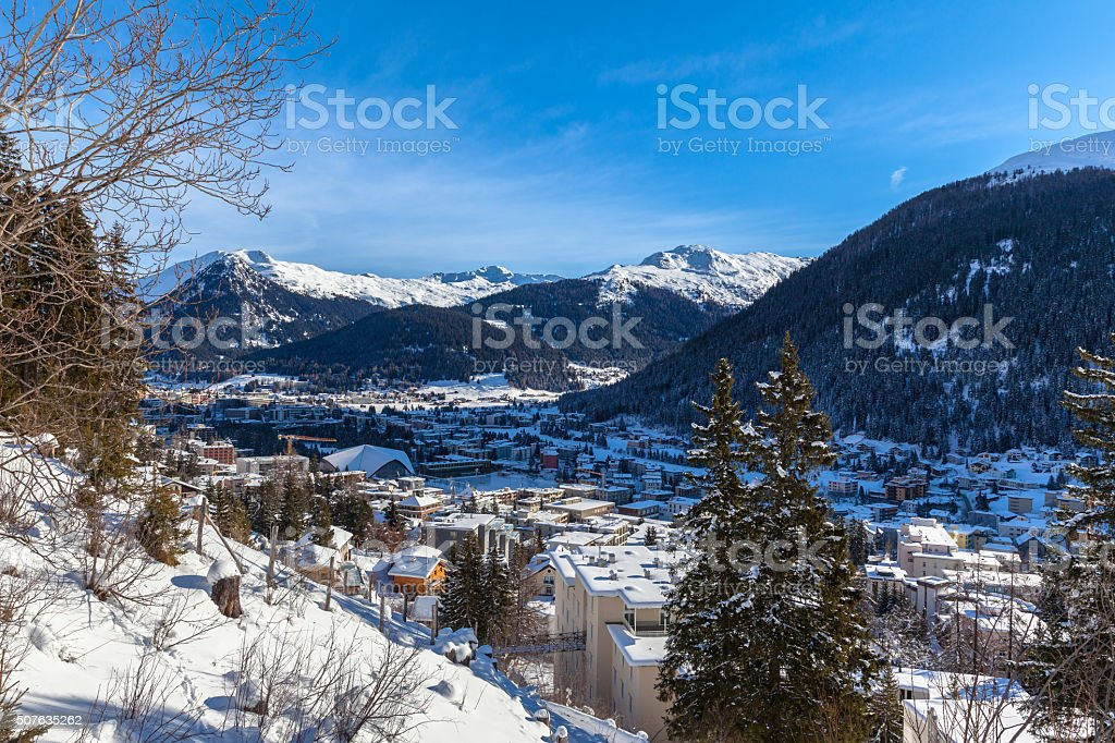Aerial view of Davos in Winter stock photo