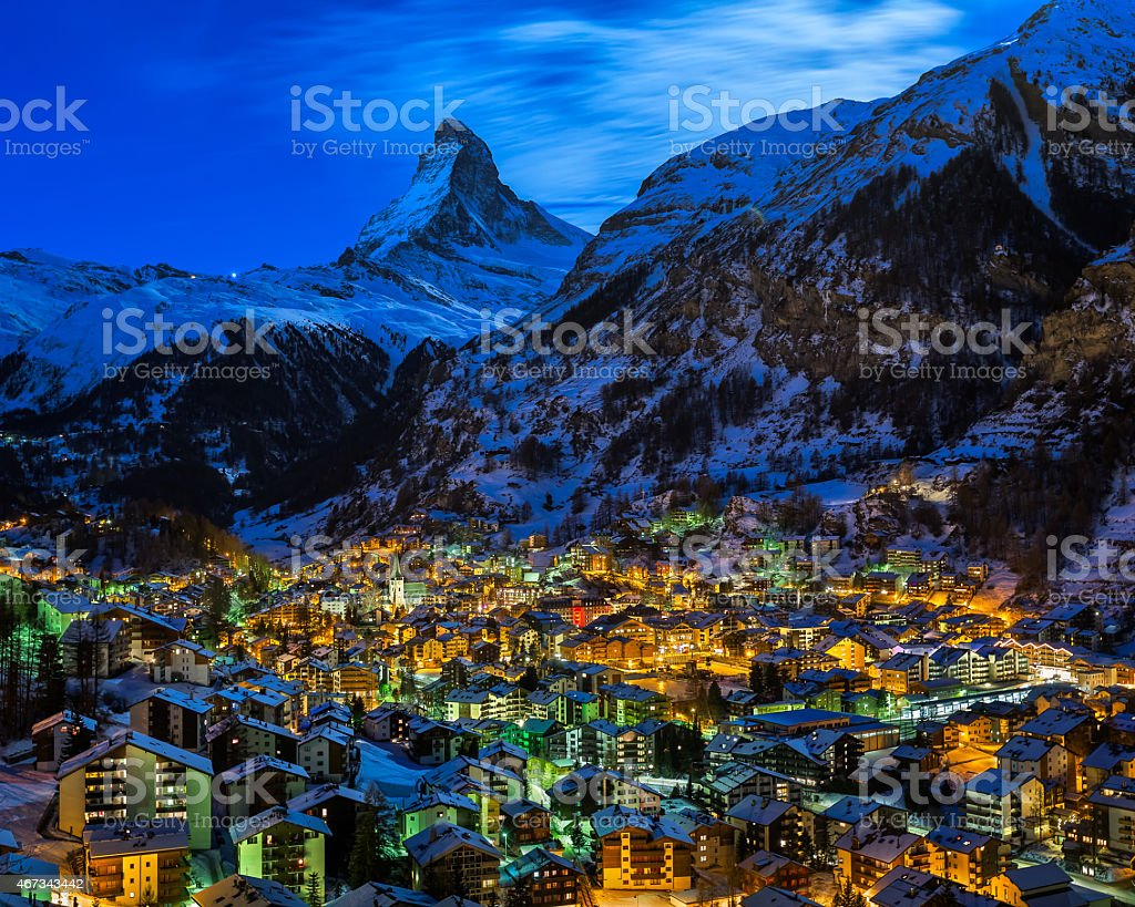 Aerial view of dawn in the Zermatt valley with Matterhorn stock photo
