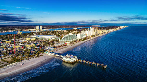 aerial view of daytona beach, florida fl - daytona 500 stock photos and pictures