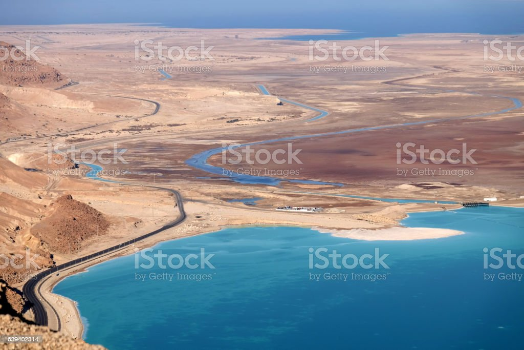 Aerial view of Dead Sea coast. stock photo