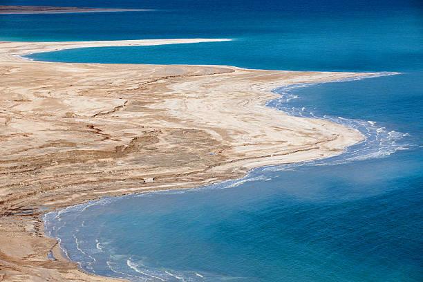 Aerial view of Dead Sea coastline stock photo