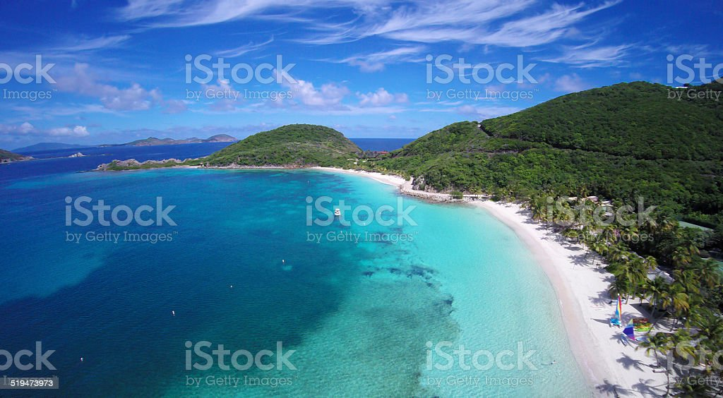 aerial view of Deadman's Bay, Peter Island, British Virgin Islands stock photo