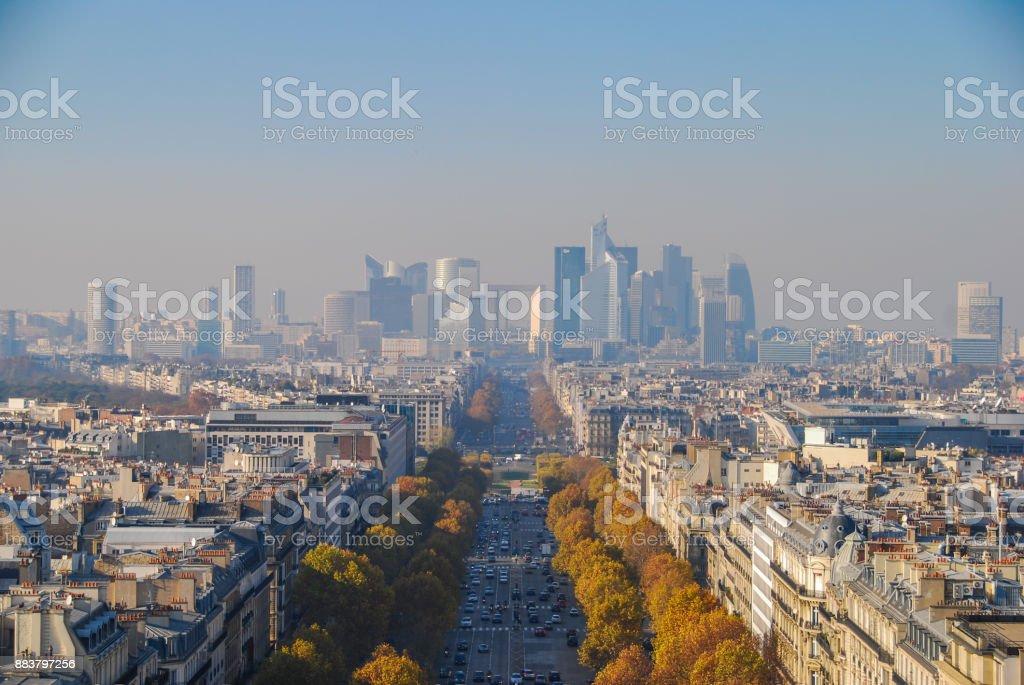 Aerial view of Defense, Paris stock photo