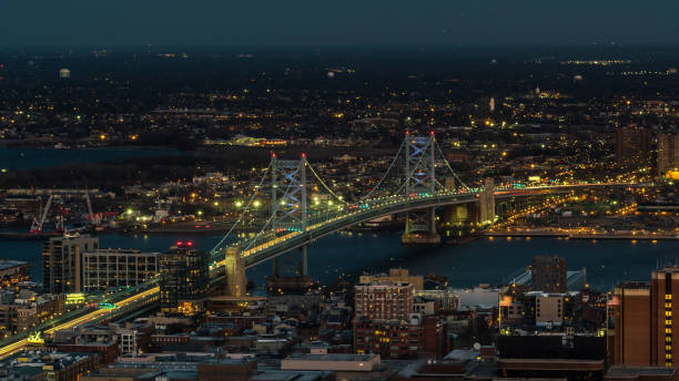 Aerial view of Delaware River and Benjamin Franklin Bridge stock photo