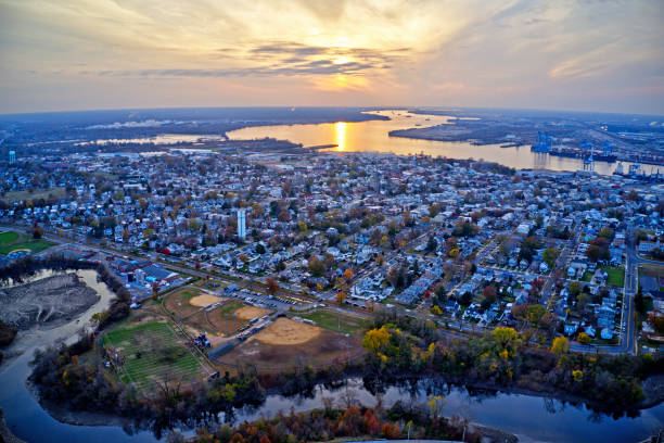 Aerial View of Delaware Riverfront Town Gloucester New Jersey stock photo
