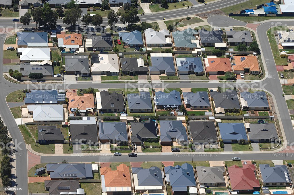 Aerial view of dense suburban housing. royalty-free stock photo