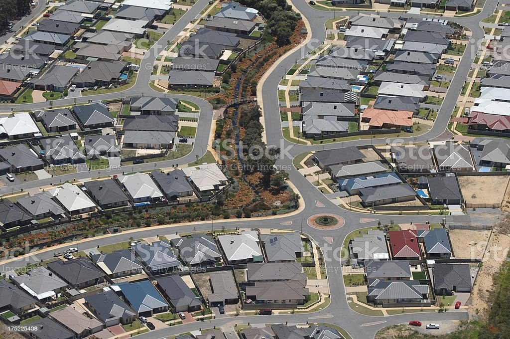 Aerial view of dense suburban housing. royalty-free stock photo