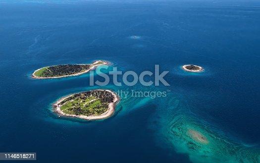 istock Aerial view of desert islands and fish shaped island Gaz, Brijuni park, Croatia 1146518271