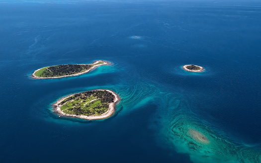 istock Aerial view of desert islands and fish shaped island Gaz, Brijuni park, Croatia 1146518271