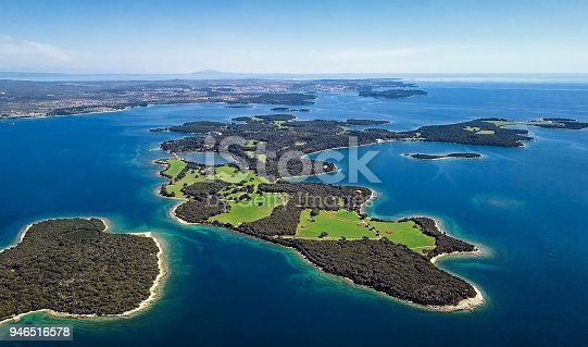 istock Aerial view of desert islands, Brijuni park, Croatia 946516578